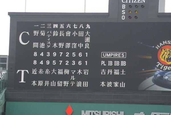 2019/5/2広島戦:今季は別人の岩田投手、好投するが無援護に泣く